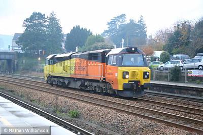 70808 heads north through Totnes on: 0F76 15:40 Tavistock Junction to Riverside  27/11/14