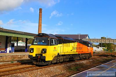 70808 heads west through Totnes light engine on: 0Z70 10:36 Riverside to Tavistock Junction  12/11/14