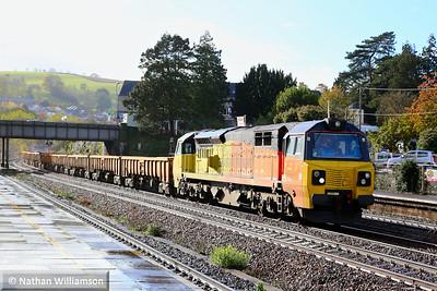 70808 heads north through Totnes on: 6C24 12:31 Tavistock Junction to Westbury  12/11/14
