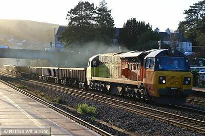 70801 heads north through Totnes on: 6C29 12:30 Tavistock Junction to Riverside  03/12/14