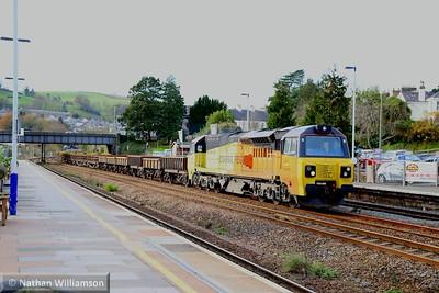 70804 heads north through Totnes on: 6C20 09:48 St Blazey to Westbury  02/12/14