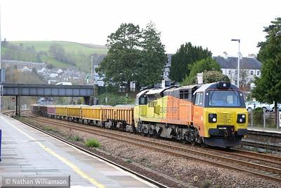 70806 heads north through Totnes on: 6C27 12:30 Tavistock Junction to Westbury  10/12/14