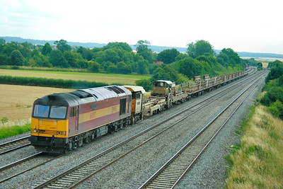 60087 heads west through Cholsey on the: 6V27 13:50 Eastleigh Yard to Hinksey Yard  16/07/09
