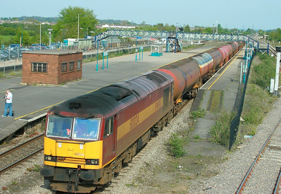 60024 heads west through Severn Tunnel Junction on the: 6B33 13:33 Theale to Robeston  23/4/09