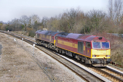 60051 & 66101 head south through Filton Abbey Wood light engine  16/03/10