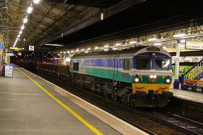 59001 heads west through Exeter St Davids on the: 7W31 18:25 Westbury to Hemerdon  17/03/12  Watch the video at: http://youtu.be/8xiNIMjqLjg