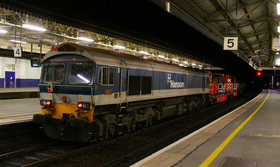 59101 heads west through Exeter St Davids on the rear of the: 7W31 18:25 Westbury to Hemerdon  17/03/12  Watch the video at: http://youtu.be/8xiNIMjqLjg