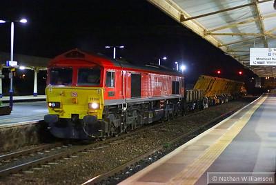 59206 heads west through Taunton on the: 6X24 21:35 Westbury to Tiverton Loop  24/08/13