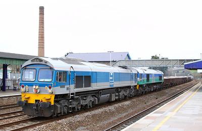 59002 & 59005 head west through Totnes forming the: 6Z48 11:23 Westbury to St Blazey  02/03/13