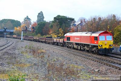 59204 heads north through Newton Abbot working the: 6W32 08:00 Hemerdon to Westbury  08/12/13