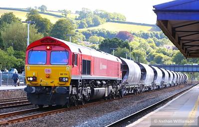 66114 heads north through Totnes on: 6C53 15:06 St Blazey to Riverside  30/07/15