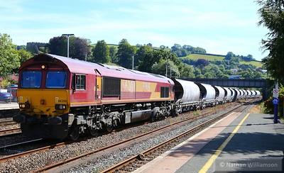 66200 heads north through Totnes on: 6C53 15:06 St Blazey to Riverside  25/06/15