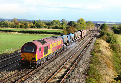 67008 heads east through Cholsey on the rear of the: 3J41 15:18 Didcot Yard to Southall via Westbury  19/10/11