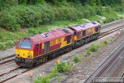 67028 & 66148 head west through Twyford on the: 0O61 13:37 Wembley Yard to Eastleigh T&RSMD  10/06/13