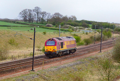 67020 heads north through Colton Junction light engine on the: 0Z20 16:33 Doncaster West Yard to Newcastle  04/04/12