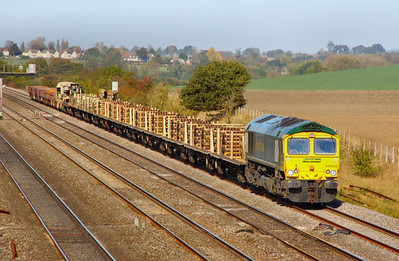 66952 on hire to DB Schenker heads east through Cholsey on the: 6O26 10:19 Hinksey Yard to Eastleigh Yard  19/10/11