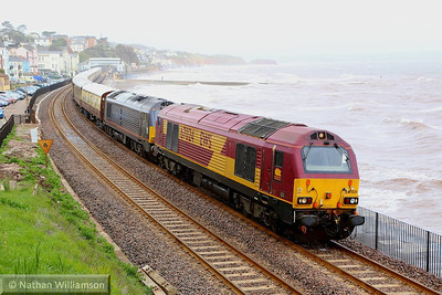 67024 & 67006 head west through Dawlish with the VSOE, forming the: 1Z80 13:50 Taunton to Plymouth 26/04/14  Watch the video at: http://youtu.be/zkwWcwE8XqM