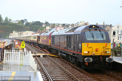 67006 & 67024 pass Dawlish working: 1Z81 17:30 Newton Abbot to Kingswear via Exeter St Davids 26/04/14  Watch the video at: http://youtu.be/zkwWcwE8XqM