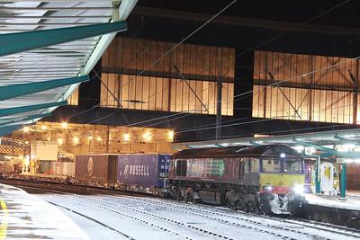 66429 calls at Carlisle in the snow on the: 4M34 14:35 Coatbridge to Daventry  01/12/10