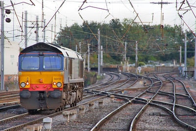 66413 heads south through Carlisle light engine forming the: 0Z66 17:12 Carlisle Kingmoor to York  06/10/10