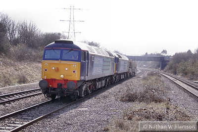 57009 & 57008 head north through Filton Abbey Wood on the: 6M67 14:02 Bridgwater to Crewe CLS  16/03/10