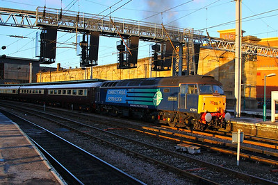 47501 departs Carlisle with the Northern Belle working the: 1Z17 11:42 Darlington to Newcastle  05/12/12  Watch the departure video at: http://youtu.be/_A7Q0_5b17o