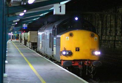 37038 heads north through Carlisle working the: 6C46 19:36 Sellafield to Kingmoor   04/12/12  Watch the video of full thrash at: http://youtu.be/f2ePv5KBtwA