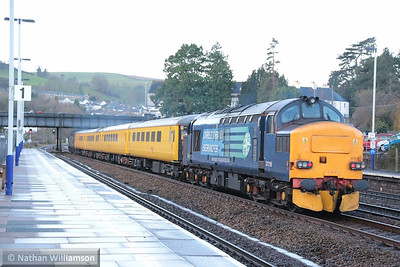 37218 heads west through Totnes on the rear of the: 1Q18 05:17 Old Oak Common to Plymouth  20/12/13