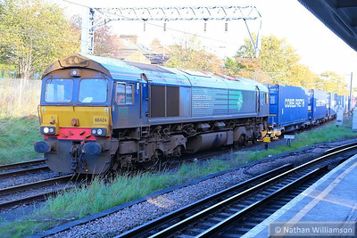 66424 passes Willesden Junction low level platforms working the: 4M71 11:29 Purfleet to Daventry  14/11/13
