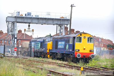 20308 & 37688 couple to the flask wagon in Bridgwater, ready to work the: 6M63 11:58 Bridgwater to Crewe CLS  01/10/13