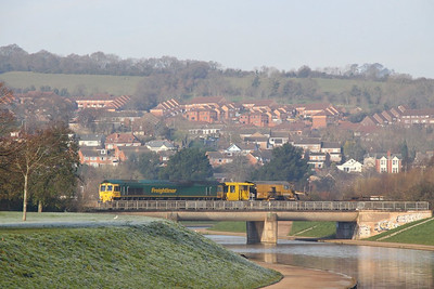 66555 heads south through Exeter St Davids over the canal working the: 6Z28 08:20 Westbury to Hackney Yard  11/12/12