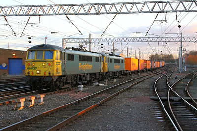 86607 & 86605 arrive into Carlisle on the: 4S61 09:19 Trafford Park to Mossend  05/12/12