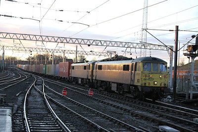 86607 & 86605 arrive into Carlisle on the: 4S50 05:55 Basford Hall to Coatbridge  07/12/12