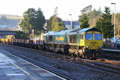 66957 heads north through Totnes on the: 6Y17 00:02 Penwithers Junction to Westbury  10/12/12