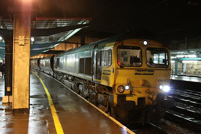 66553 calls at Carlisle working the: 6E06 13:40 Hunterston to Cottam  06/12/12