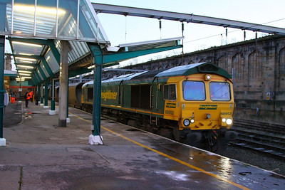 66952 heads north through Carlisle on the: 4S41 08:53 Rugeley Power Station to Carlisle Yard  05/12/12