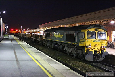 66526 heads north through Taunton on the rear of the: 6X33 17:25 Fairwater to Andover  05/11/13