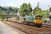 66614 Top & Tailed with 66595 heads north through Totnes on the:<br /> 6Y97 05:10 Roskear Crossover to Westbury via Penzance<br /> <br /> 25/07/13
