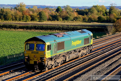 66514 heads west through Cholsey light engine working the: 0V27 13:29 Eastleigh Yard to Hinksey Yard  04/11/13