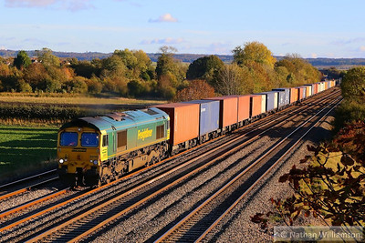 66563 heads west through Cholsey working the: 4M61 12:54 Southampton Maritime to Trafford Park  04/11/13