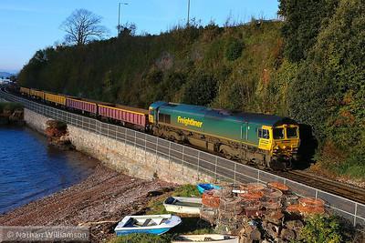 66507 heads north past Shaldon Bridge working the: 6Y30 08:00 Hemerdon to Westbury  24/11/13