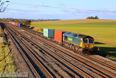 66955 heads east through Cholsey working the: 4O48 11:26 Hams Hall to Southampton Maritime  04/11/13