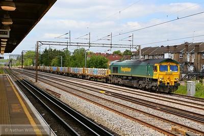 66564 heads south through South Kenton on: 4A50 12:06 Washwood Heath to Willesden Euroterminal  26/05/15