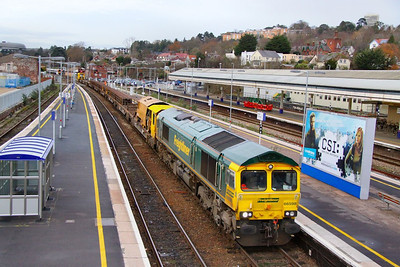 66598 heads west through Exeter St Davids on the: 6Z28 13:08 Westbury to Hackney Yard  20/12/11