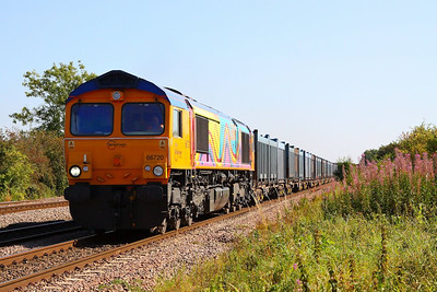 66720 heads north through Cossington on the: 4E80 13:20 Hotchley Hill to Doncaster Roberts Road  07/09/12