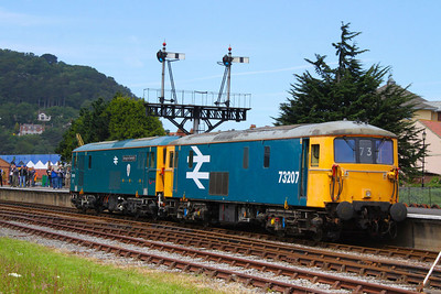 73207 & 73119 reverse onto the train in Minehead  17/06/12