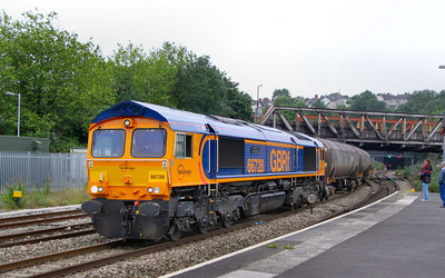 66728 heads east through Newport on the: 6E01 17:17 Cardiff Docks to Peterborough Virtual Quarry  17/07/12