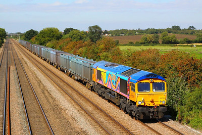 66720 heads south through Cossington on the: 4E80 13:20 Hotchley Hill to Doncaster Roberts Road  07/09/12
