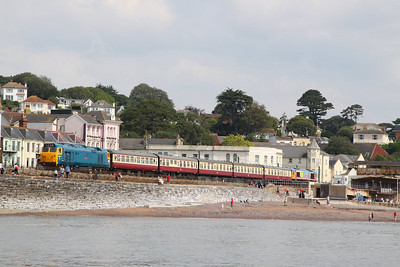 50044 heads west along the Dawlish Sea Wall on Marine Parade on the: 1Z50 09:15 Cardiff Central to Paignton  21/07/12  Watch the video at: http://youtu.be/qqbtiI3_suE
