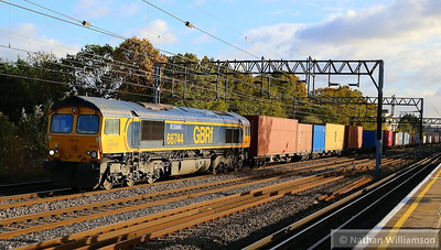 66744 heads north past South Kenton on the: 4M23 10:45 Felixstowe to Hams Hall  14/11/13